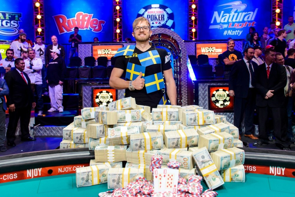 Look at all that money and the big shiny bracelet - Martin Jacobson, 2015 WSOP Main Event Winner