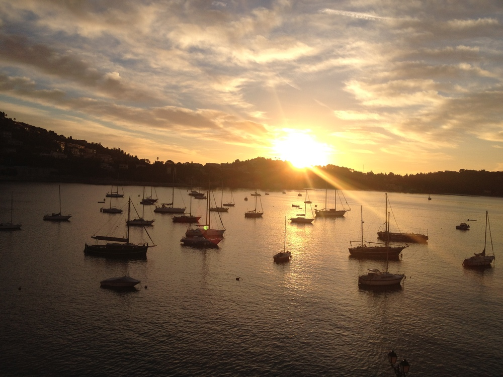 8 a.m. sunrise and sailboats on the Villefranche Harbor