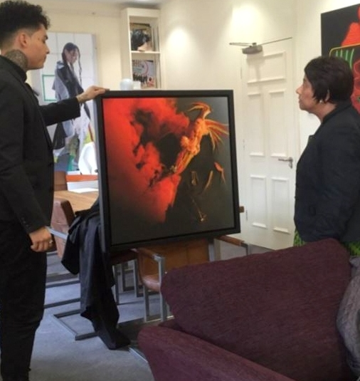 Presenting the artwork to the Baroness, Doreen Lawrence. 18/04/2016