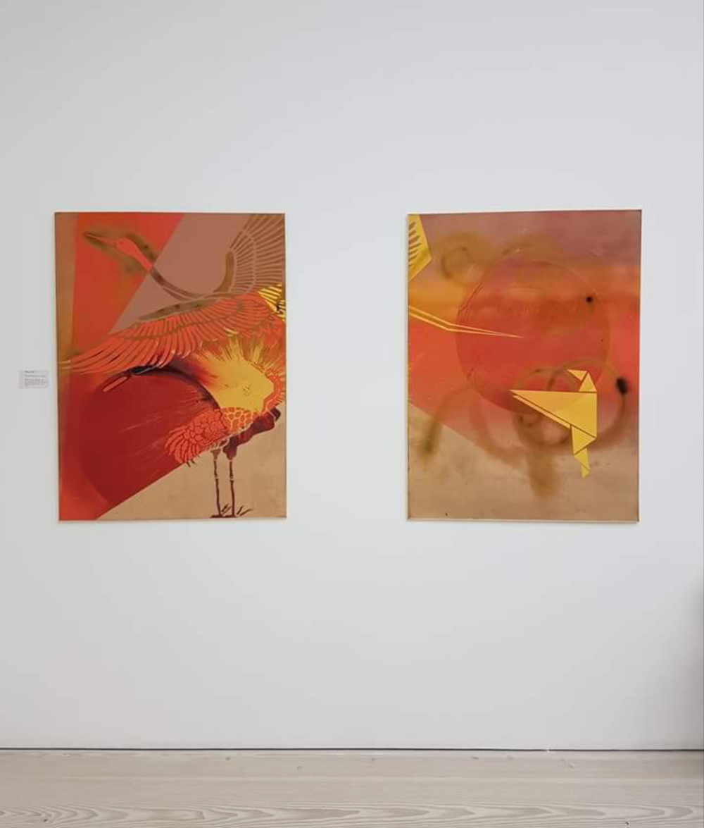 Kirigami Sunset hanging up at the Saatchi Gallery, London. September 2017