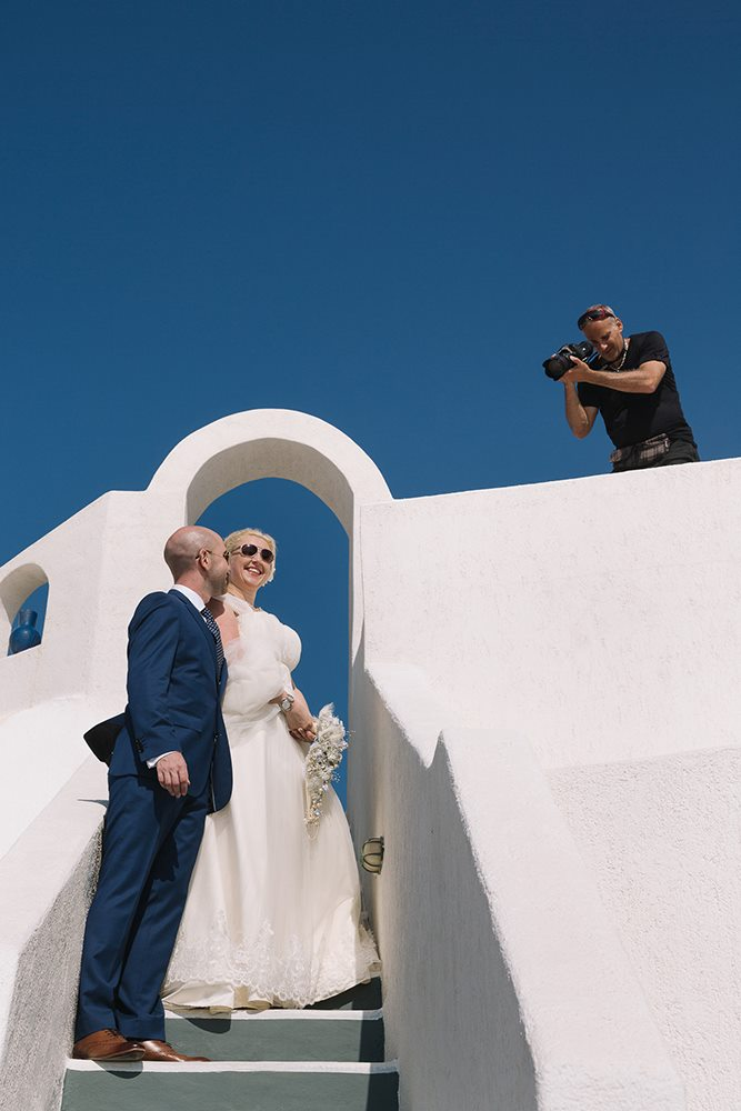 Apos (UC Wedding Films) in action filming on Santorini