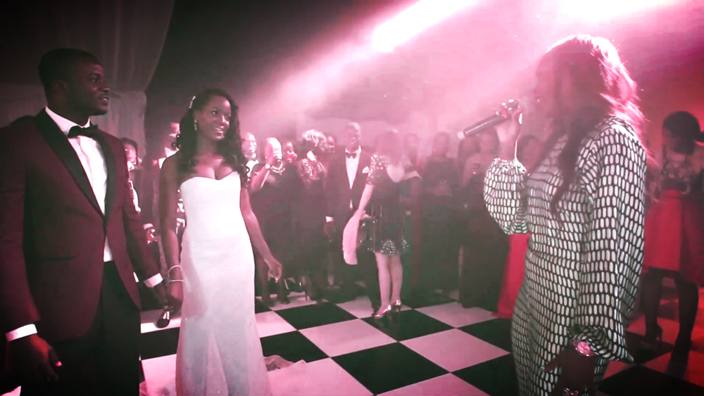 Wedding Videography Still - Tiwa Savage sings for the bride and groom