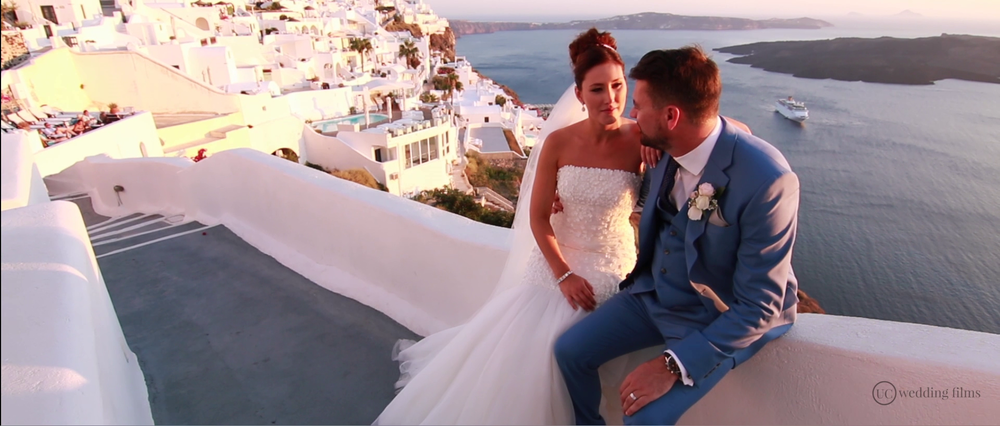 Wedding Videography Still - Santorini Amazing View
