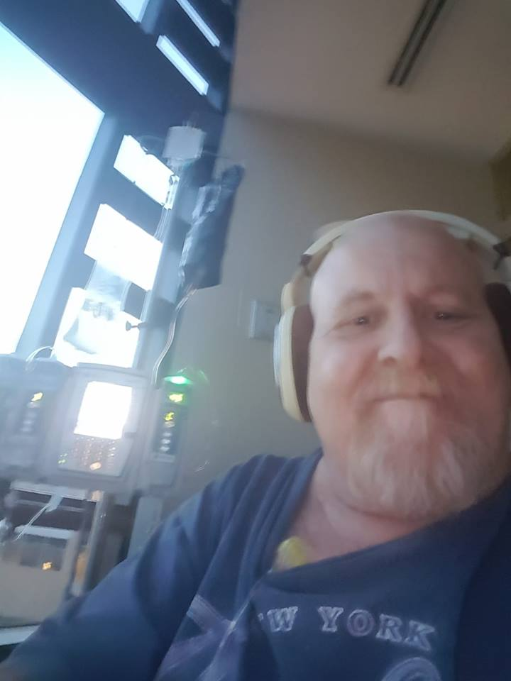 Mike recording his latest episode in the hospital
