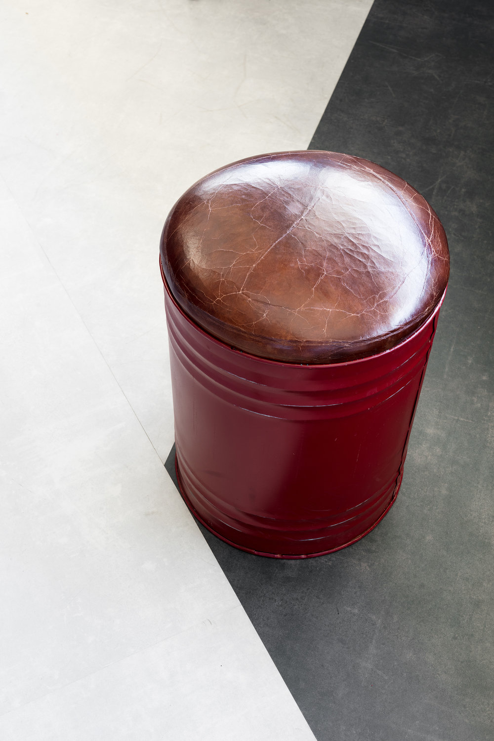 oil canister stool with vintage leather Garage39 - KKD