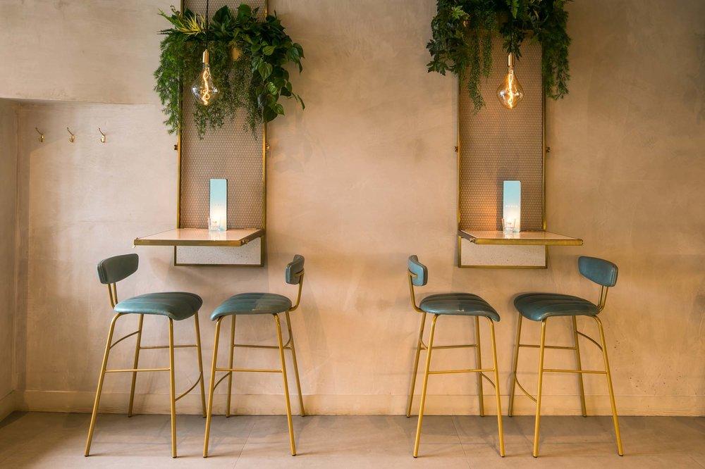 Heads + Tails bar interior kinnersley kent design high tables