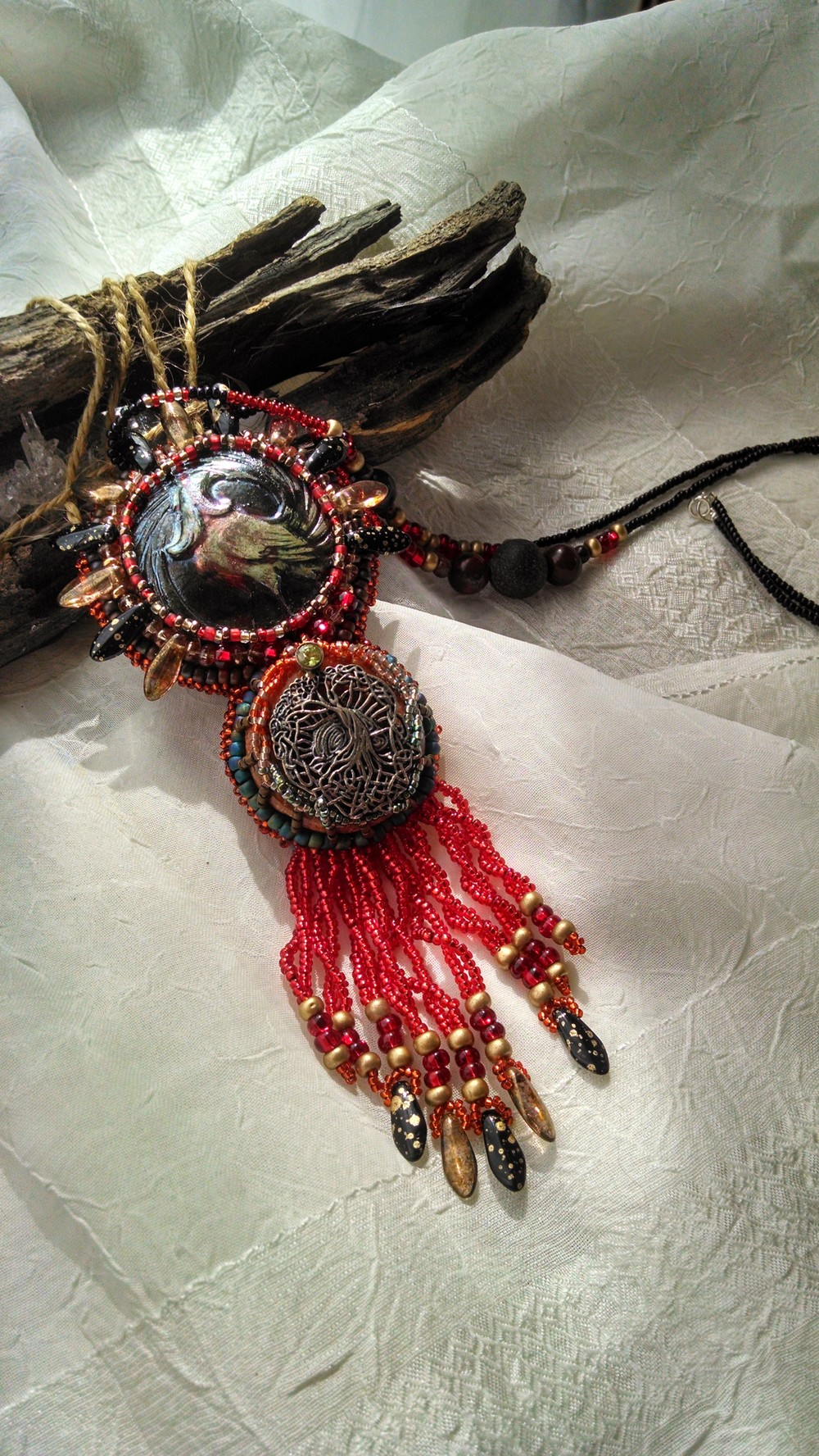 Phoenix Totem Necklace with Tree of Life