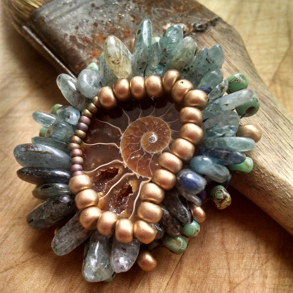 Ammonite and Kyanite Pendant