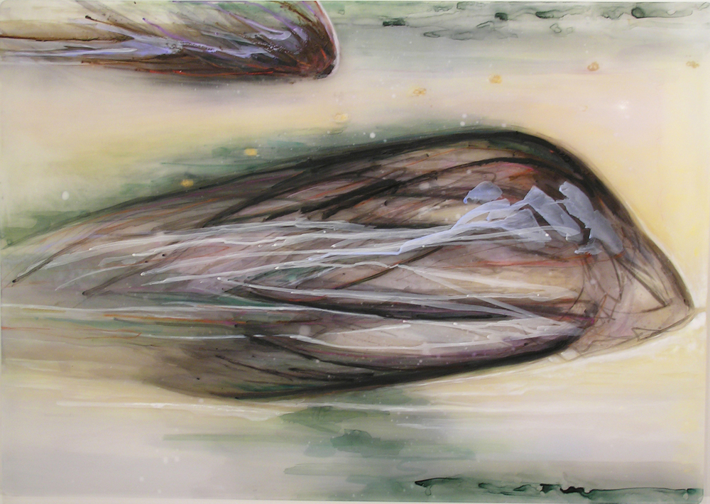 Elegy,  2009  Oil paint, oil bar, acrylic, and prismacolor on plexi 35.5 x 47.5 x 1 inches