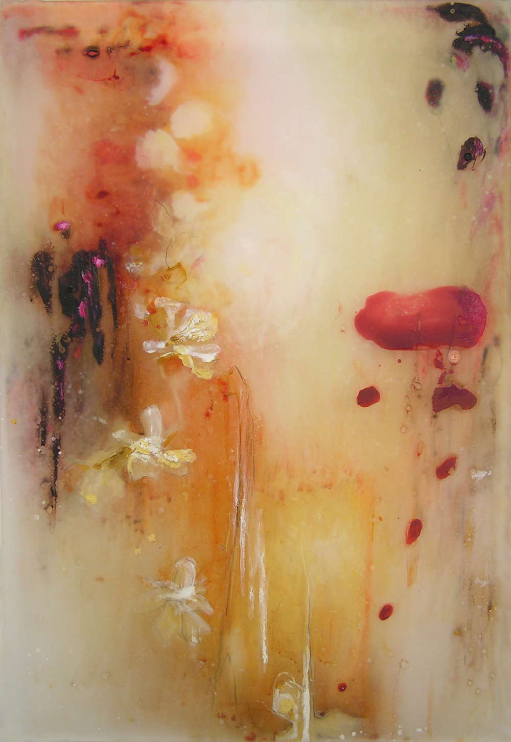 Floats Amber, Melts Rose , 2008  Oil paint, oil bar, acrylic, and prismacolor on plexi 30 x 22 x 1 inches