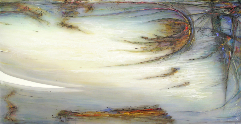 Wind Calls Tide , 2008  Oil paint, oil bar, acrylic, and prismacolor on plexi 42 x 76 x 1 inches