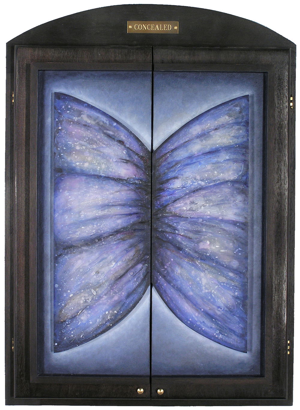 Concealed, Behind Closed Doors Series,  1999  Acrylic and prismacolor on plexi, wood, and velvet 23 x 16 x 2 inches