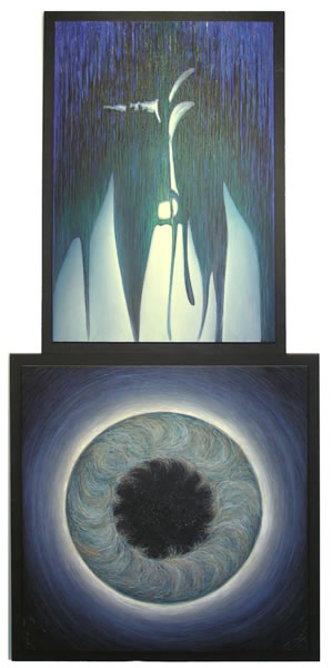Duality,  1995  Oil paint, pumice, oil pastel, poplar 83 x 39 x 2 inches