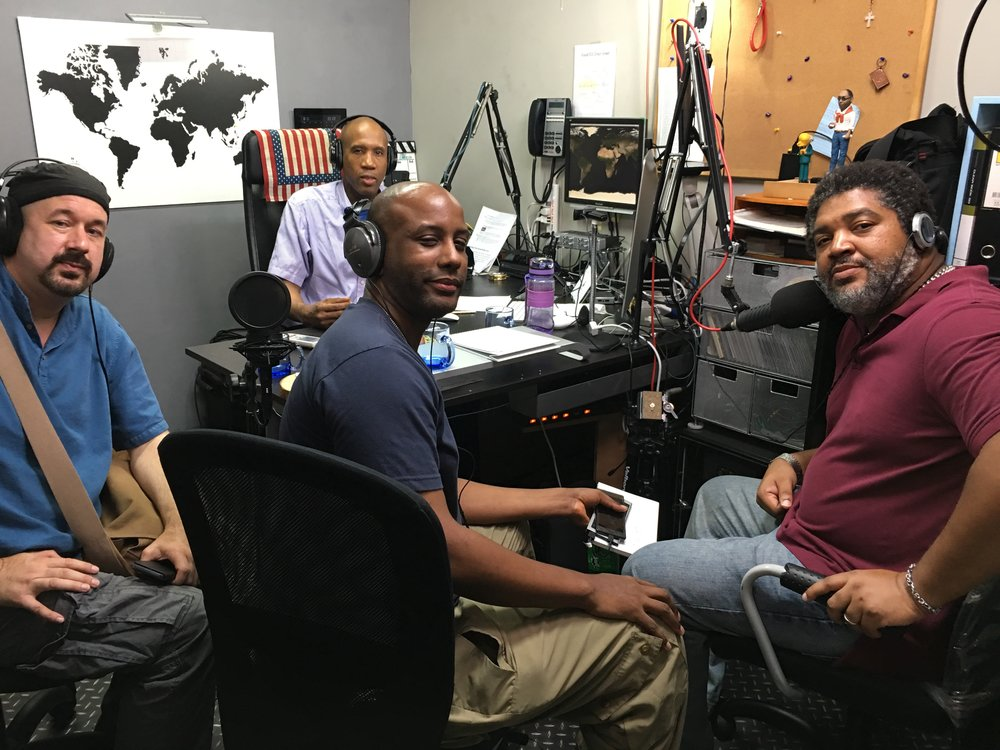In studio with EWA (Expat With Attitudes) James with TC Lin, Carlo  JaMelle, Steve Iglehart