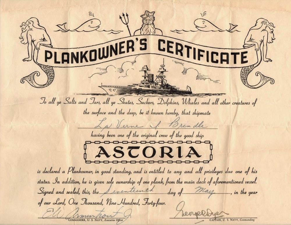 USS Astoria Plank Owner Certificate