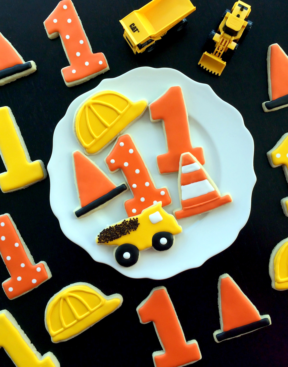 Construction-themed sugar cookies