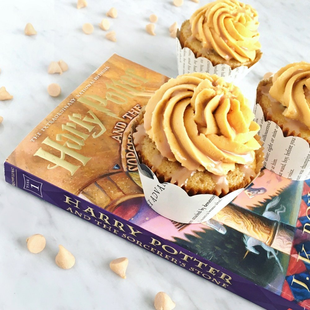 Butterscotch and cream soda cake with butterbeer drizzle and topped with butterbeer frosting