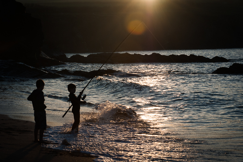 Fishing at sunset in Cornwall