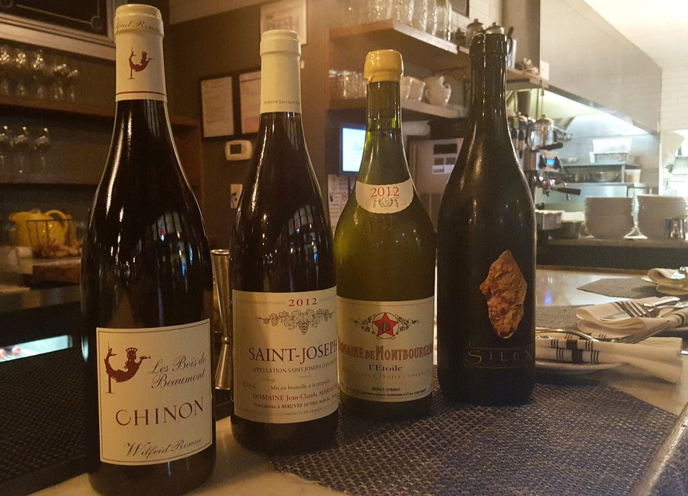 Two whites and and two reds AJ loves from Macon's current wine list