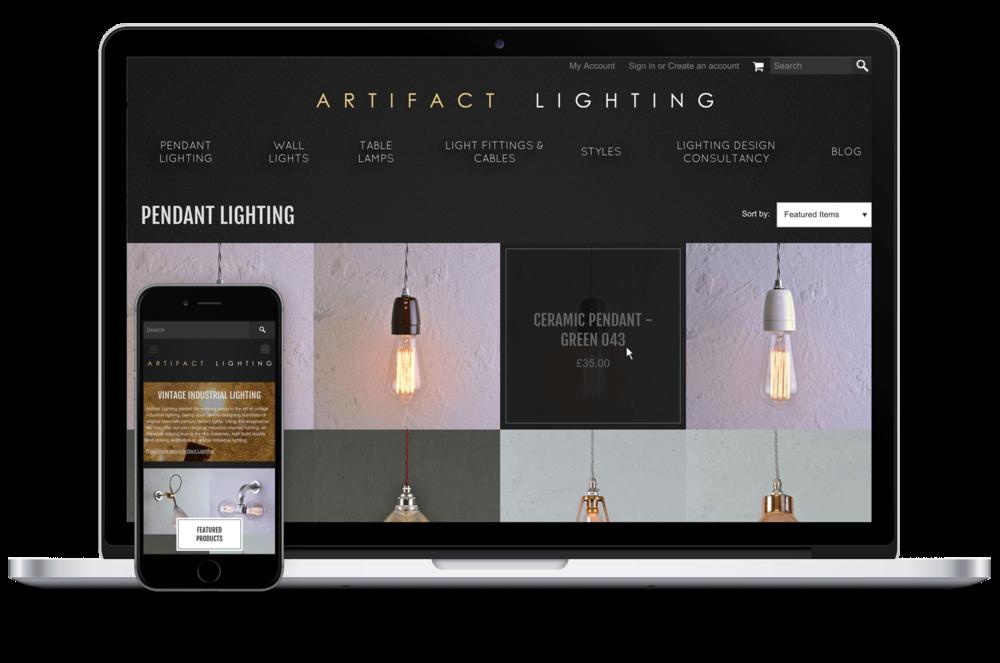 Artifact lighting ecommerce website digital freelancer