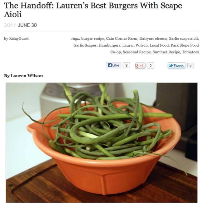 Recipe Relay: Lauren's Best Burgers with Scape Aioli