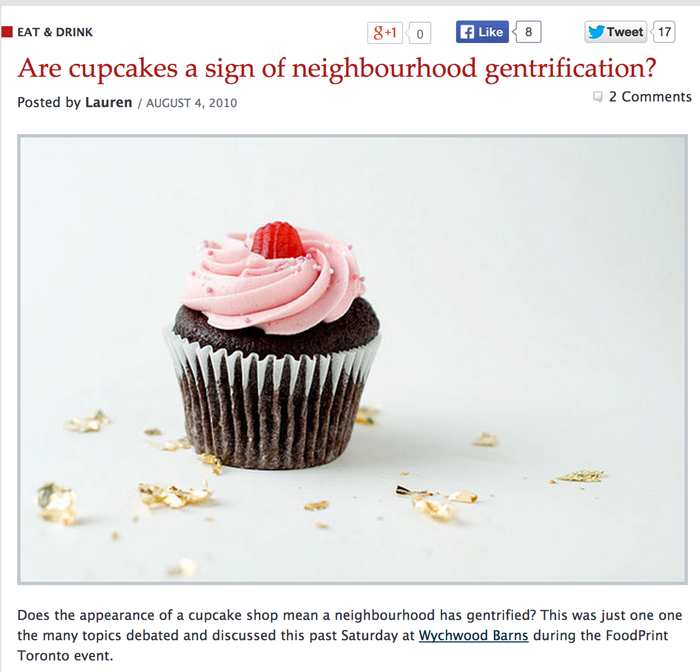 BlogTO.com: Are cupcakes a sign of neighborhood gentrification?