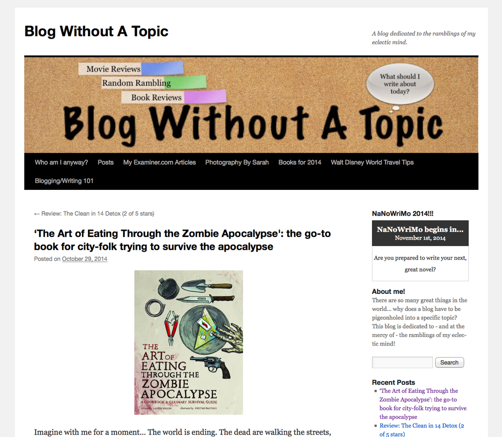 Review of The Art of Eating Through the Zombie Apocalypse on Blog Without A Topic.