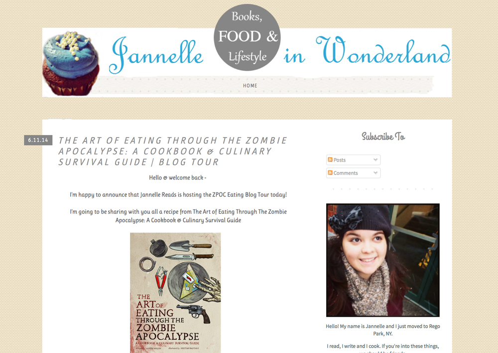 Janelle in Wonderland shares my grilled cheese recipe from The Art of Eating Through the Zombie Apocalypse.
