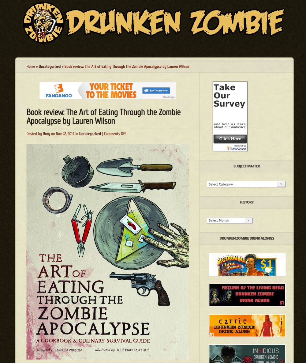Interview and review of The Art of Eating Through the Zombie Apocalypse on Drunken Zombie.