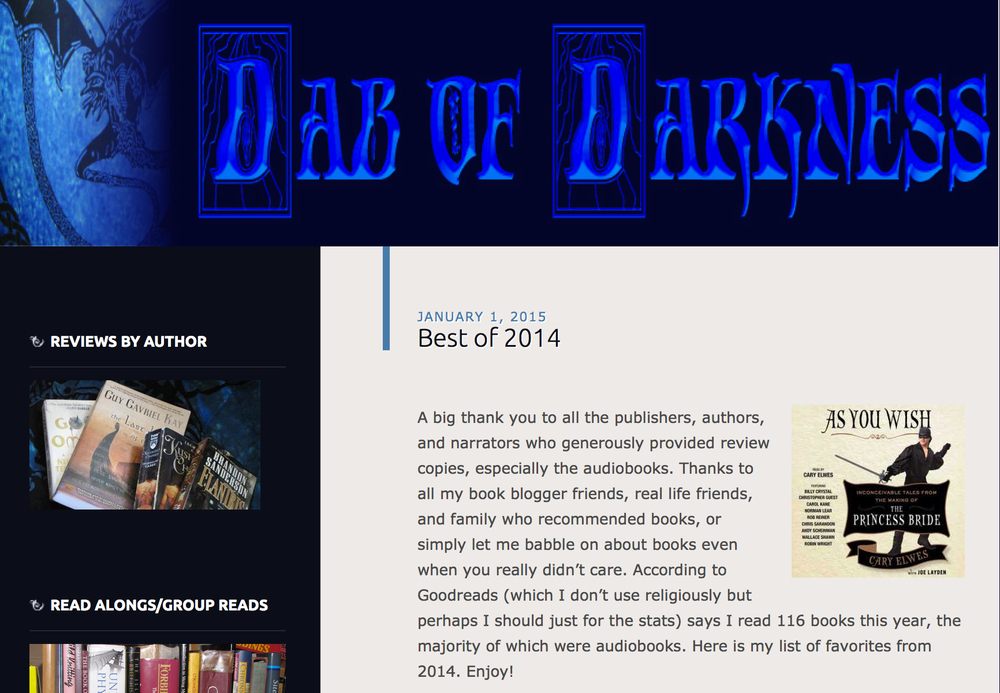 The Art of Eating Through the Zombie Apocalypse named Best of 2014 on Dab of Darkness.