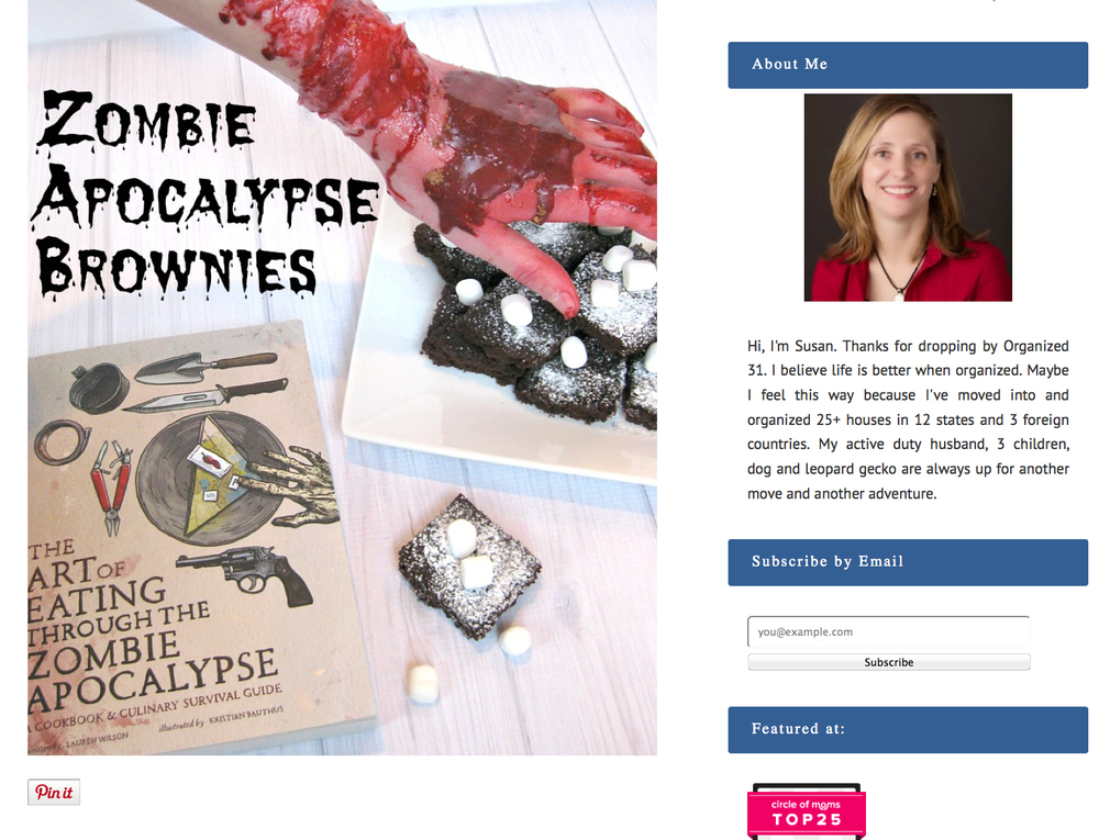 Review of The Art of Eating Through the Zombie Apocalypse & recipe for Apocalypse Nownies on Organized 31.