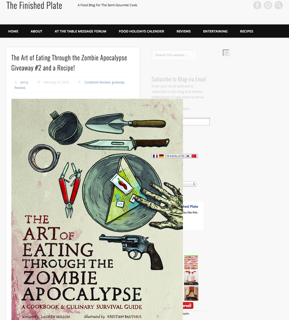 Another giveaway of The Art of Eating Through the Zombie Apocalypse on The Finished Plate