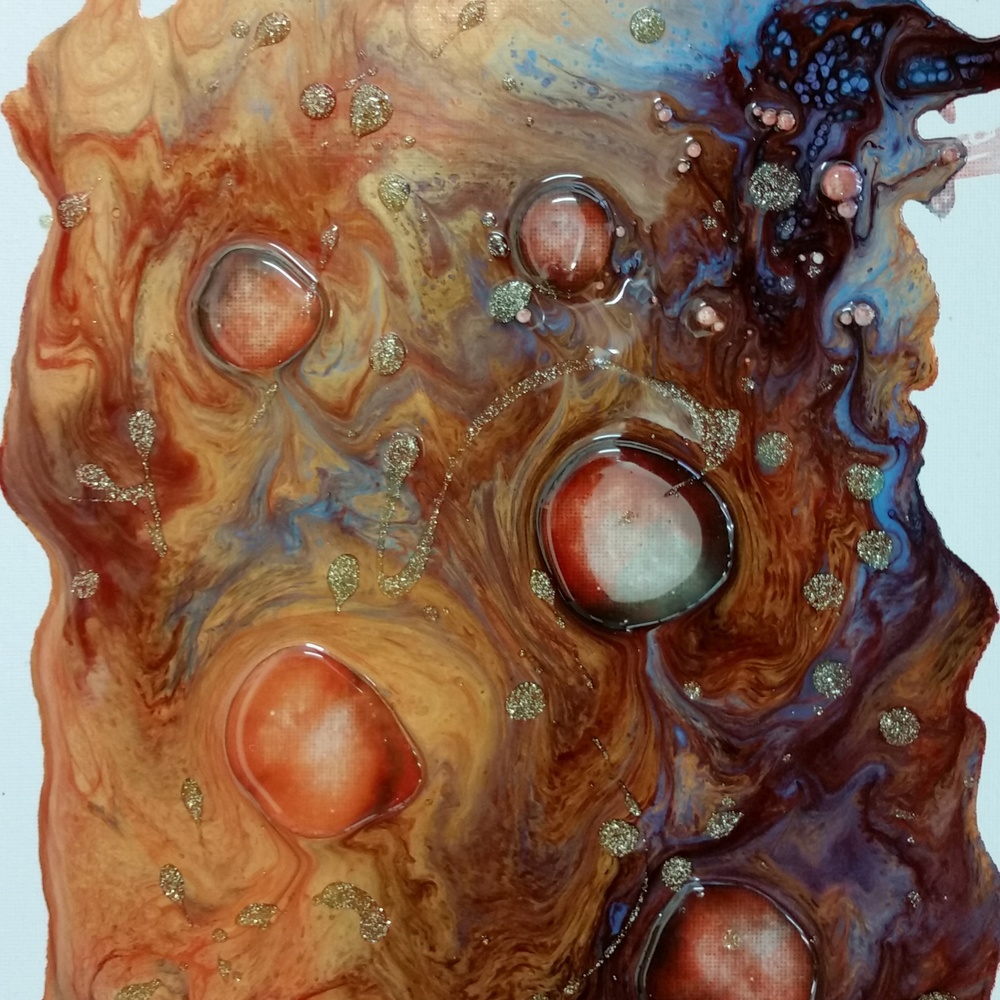 "Pebeo Liquid Alkyd Oil paints (Vitrail, Fantasy Moon, and Fantasy Prisme) plus Resin ""bubbles"" on canvas."