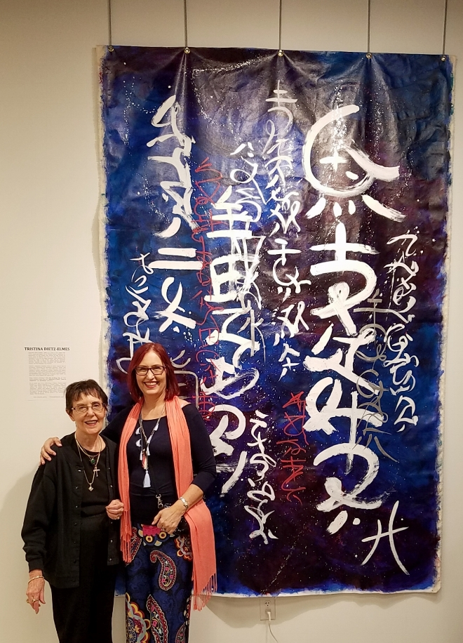 Enjoying the Opening Reception with my mother in front of 'Moon Over Miami', 5ft x 8ft.