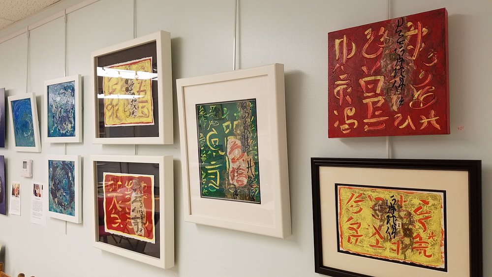 Tristina Dietz Elmes' Asian Fusion and Sea Song Artworks at TRAX Art Studios Gallery show.