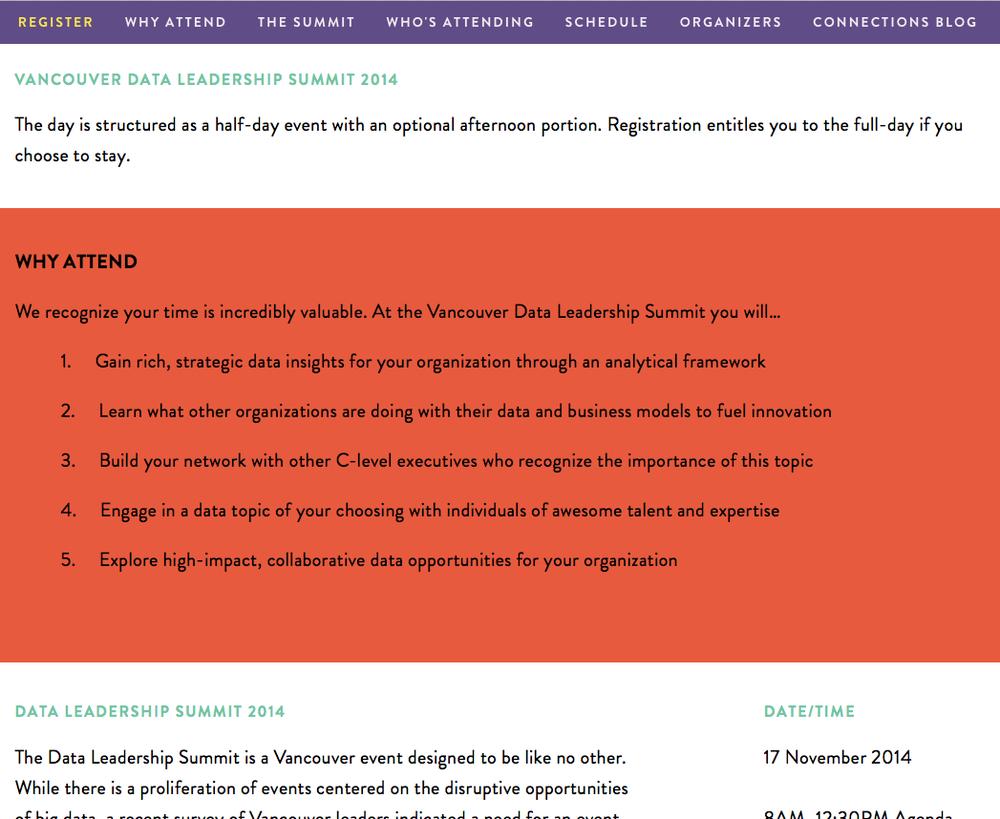 Data Leadership Summit website