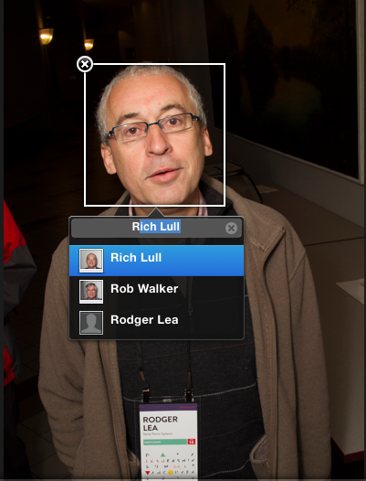Tagging Rodger Lea so iPhoto would recognize him