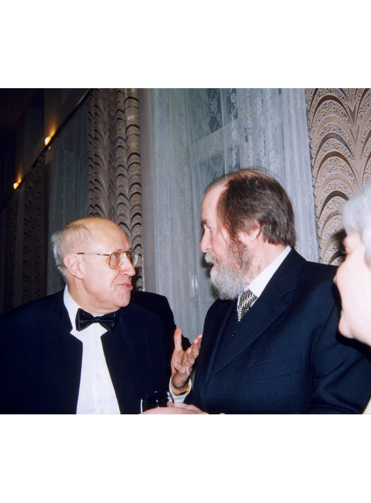 9.10┆  Mstislav Rostropovich and Aleksandr Solzhenitsyn at the Great Hall of the Conservatory during celebrations of Solzhenitsyn's 80th birthday.   Moscow, 14 December 1998 Credit: Yevgeniy Burmistrov