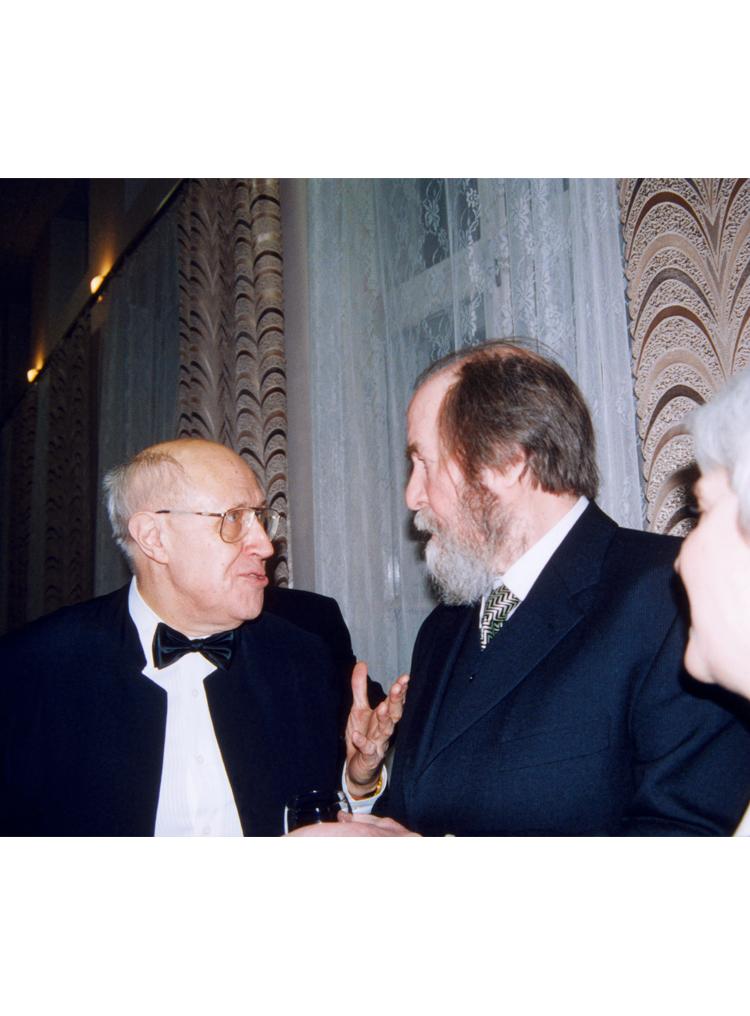 9.10┆Mstislav Rostropovich and Aleksandr Solzhenitsyn at the Great Hall of the Conservatory during celebrations of Solzhenitsyn's 80th birthday.   Moscow, 14 December 1998 Credit: Yevgeniy Burmistrov