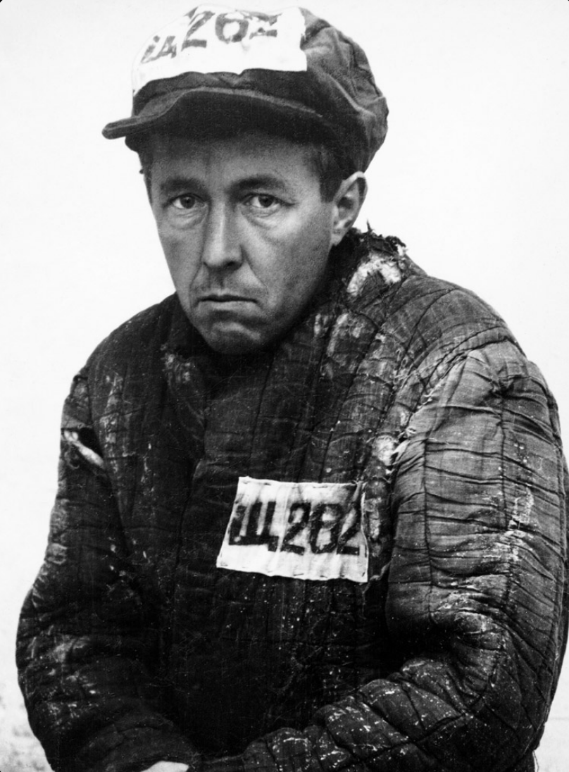 "10.7┆ Newly exiled Aleksandr Solzhenitsyn in prisoner garb and number ""Shch-262"".    Kok-Terek, Kazakhstan, March 1953"