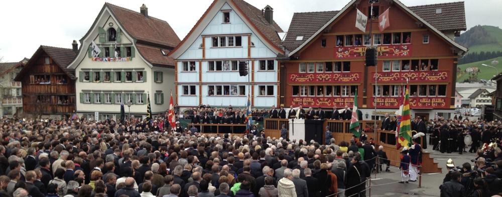The Landsgemeinde gathers to vote in Appenzell, Switzerland, in 2013. Photo: Rosmarie Widmer Gysel.
