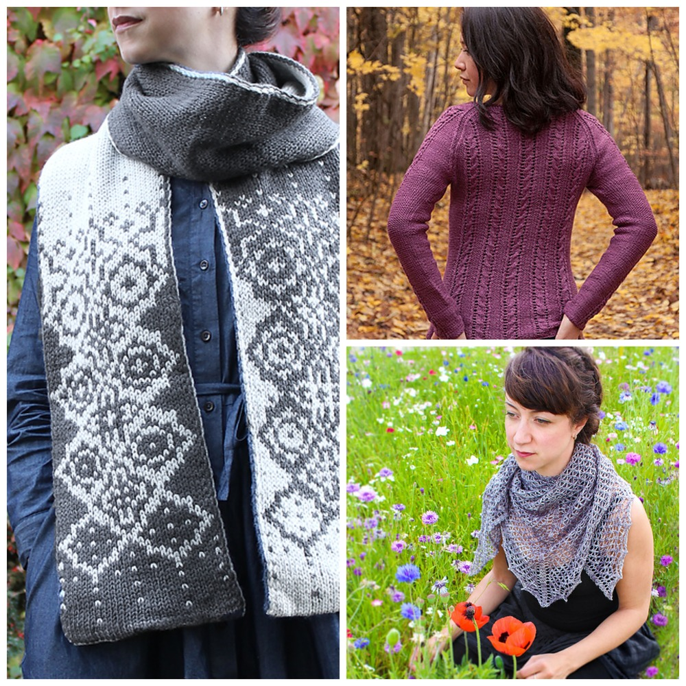 Some of East London Knit's designs: Rhombulation scarf, Hyssop sweater and Veil of Leithen shawl.