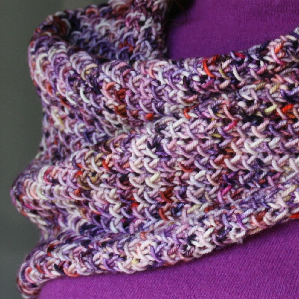 "Fresco, worked in Blissful Knits Tango in ""Regal Berry"""