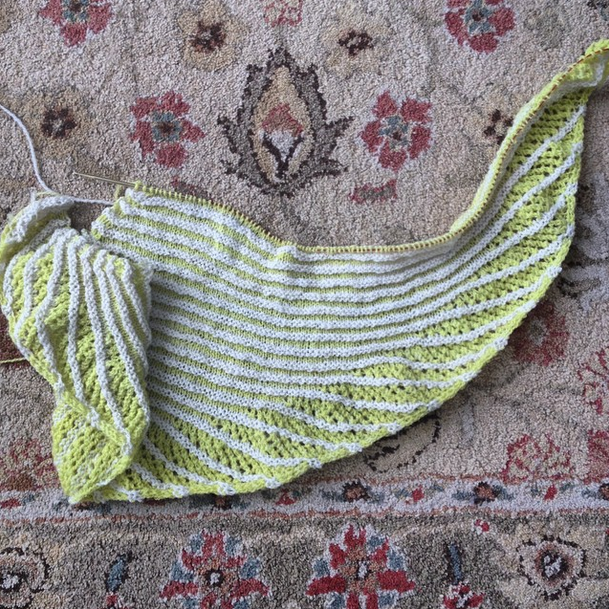 The Nymphalidea shawl WIP - knit in Porpoise Fur fibre in the YFP and Clotted Cream colourways.