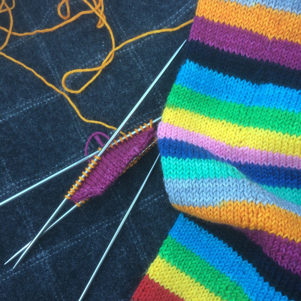 "Allison's Classic Toe Up socks by Kate Atherley in the Trailing Clouds colourway ""Mind the Gap"""