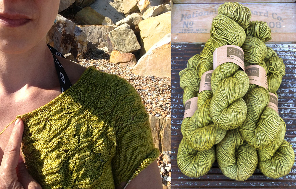 Sibella Cardigan  by Carrie Bostick Hoge in Beyul,  Steppe  © Kettle Yarn Co.