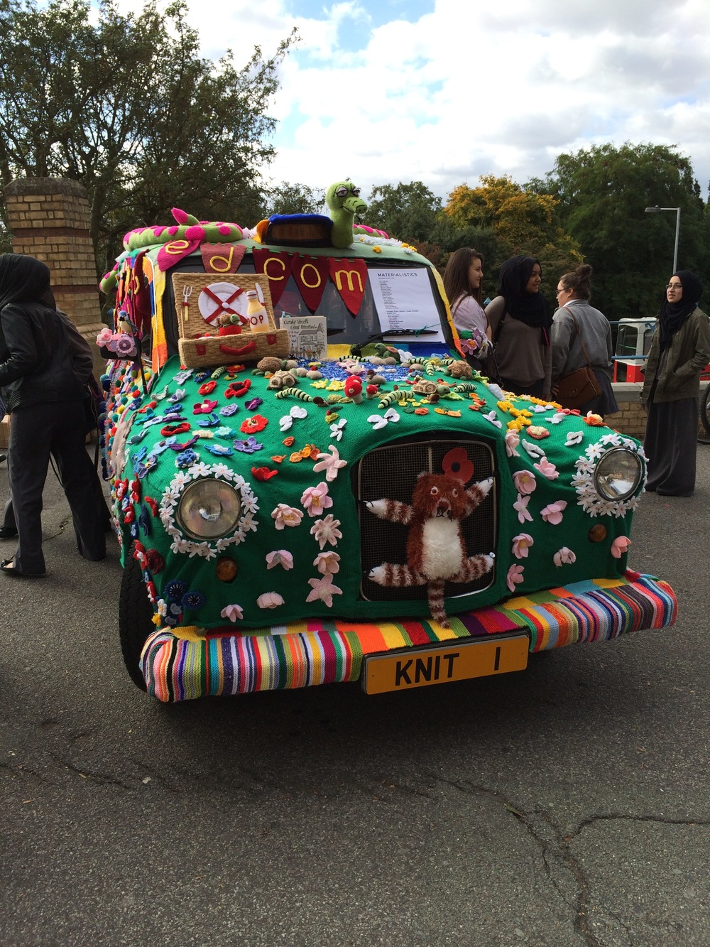This yarnbombed taxi is from the Ally Pally show in 2013 - there's always lots of wonderful textile art exhibited as part of the show. It's not just about the shopping!