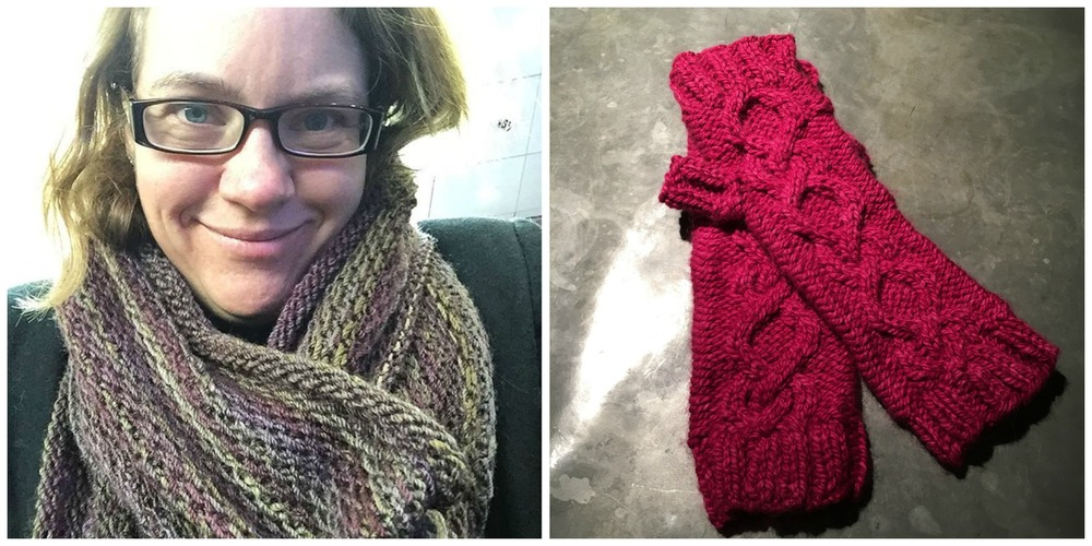 Rachel and Alli's latest FOs - the Honey Cowl and Heggelia mitts