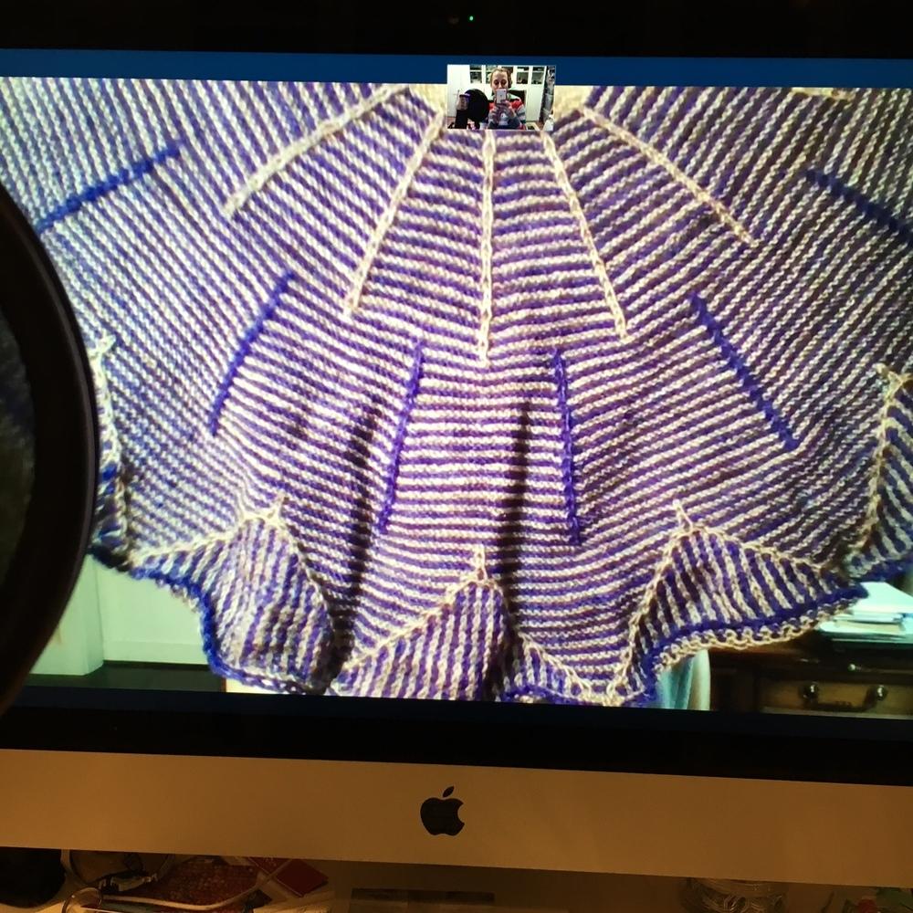 Rachel's beautiful shawl finish in Triskelion Yarns.