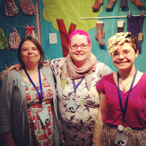 L-R: Sam, C.C. and Dami from the Geeky Puffin Knit Palooza